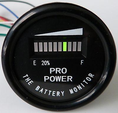 PRO12-48M Golf Cart Battery Indicator EZGO Yamaha Club Car 12, 24, 36, 48 VDC