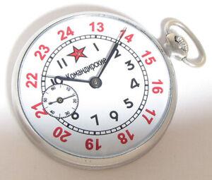 EARLY Vintage USSR Pocket watch Molnija 15j SLIM 3-1957 12/24 hours SERVICED