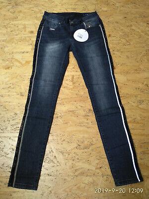 Blue Monkey Skinny Jeans Damen Honey 10372 Mid Rise Reflective Sidestripe | eBay