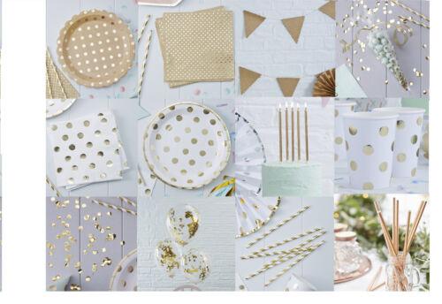 Kraft GOLD WHITE POLKA DOT Luxury TABLEWARE Party Decorations Anniversary Classy