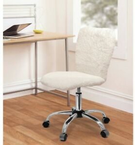 Details About Faux Fur Task Armless Swivel Chair White Sherpa Office Desk  Computer Back Dorm