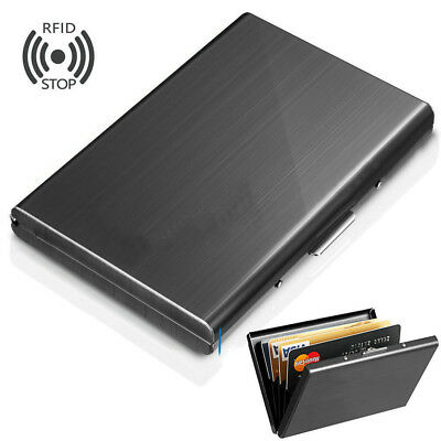 Aluminum Metal Slim Anti-Scan Credit Card Holder  Blocking Thin Wallet Case RF