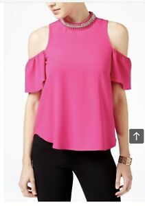 8cb16da5960c Image is loading XOXO-Juniors-Womens-Embellished-Neck-Cold-Shoulder-Top-