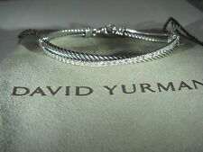 AUTHENTIC DAVID YURMAN S. SILVER CROSSOVER 3MM CABLE DIAMOND  BRACELET DY POUCH
