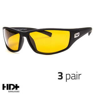 04552bc91737 Details about 3 PC SPORT WRAP HD NIGHT DRIVING POLARIZED SUNGLASSES HIGH  DEFINITION GLASSES o