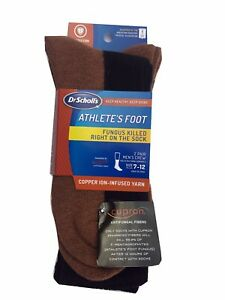Dr. Scholl's MEN'S Athlete's Foot Copper-Ion Infused Crew Socks 2-Pack