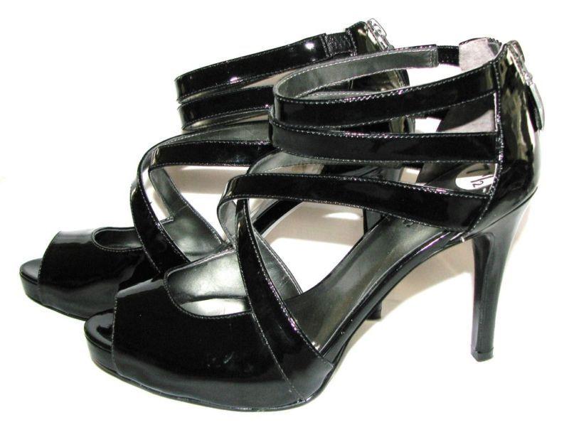Neuf Guess Verni noir avec Fermeture Éclair Escarpin Bout Ouvert chaussures, 4