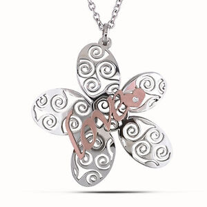 Amour-Italian-Stainless-Steel-Two-tone-Flower-Necklace