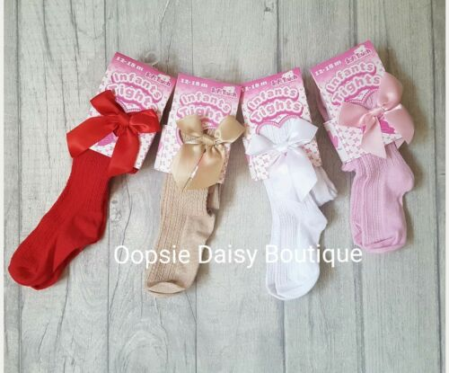 Baby Girls Gorgeous Ribbed Ribbon Bow Tights ☆  Newborn to 18mths ☆