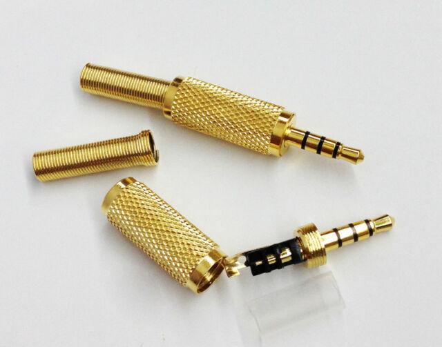 Gold 3.5mm 4 Pole Male Repair headphone Jack Plug Metal Audio Soldering & Spring