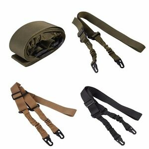 Tactical Dual-point Mission Sling System for Rifle Gun Elastic Mud Color