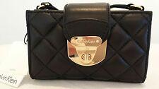 Calvin Klein Mini Quilted Black Leather Clutch Shoulder Handbag NWT Retail  $118