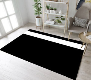 Details About Black Background White Stripe Design Area Rugs Bedroom Rug Living Room Floor Mat