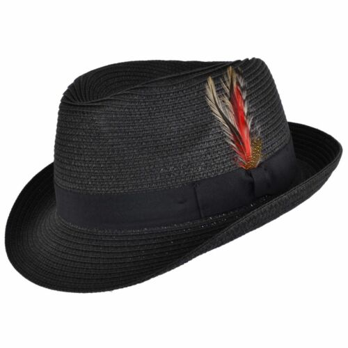 Unisex Crushable Straw Summer Trilby Hat With Removable Feather headwear