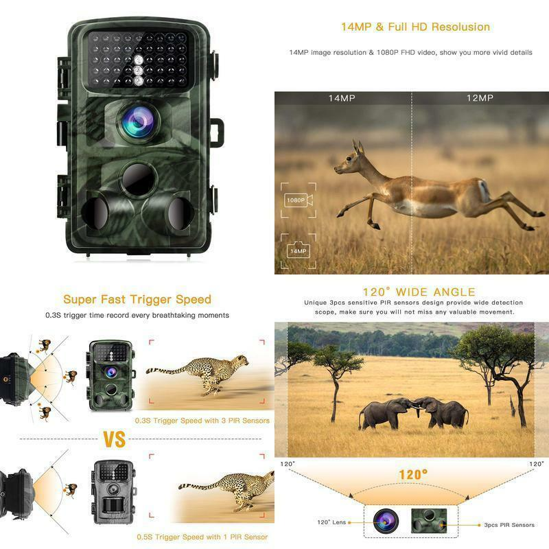 Toguard Trail Camera 14Mp 1080P Night Vision Game Camera Motion Activated Wildli