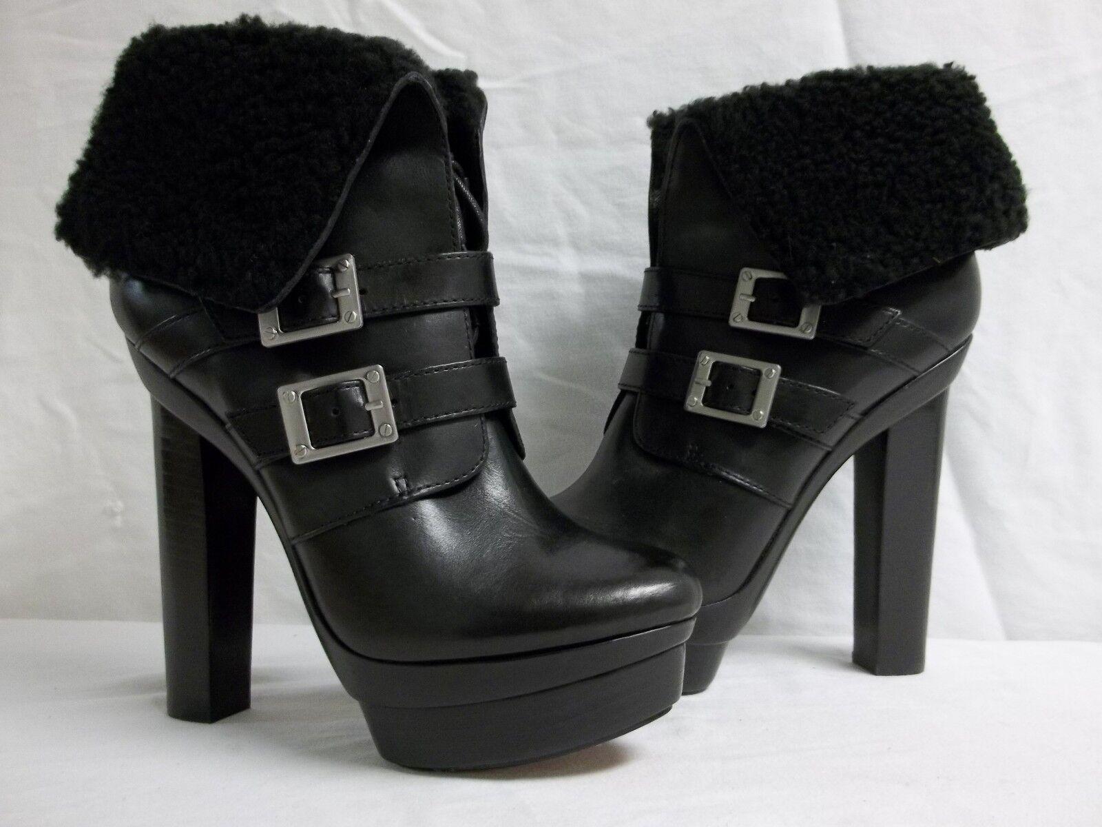 Rachel Zoe Size 10 M Piper Leather Black Booties Heels New Womens shoes NWOB
