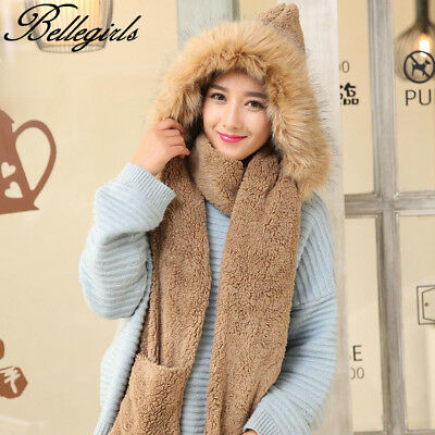 New Gloves With Pocket Fluffy Hood Scarf Earflap Hat Winter Warm Women Ladies