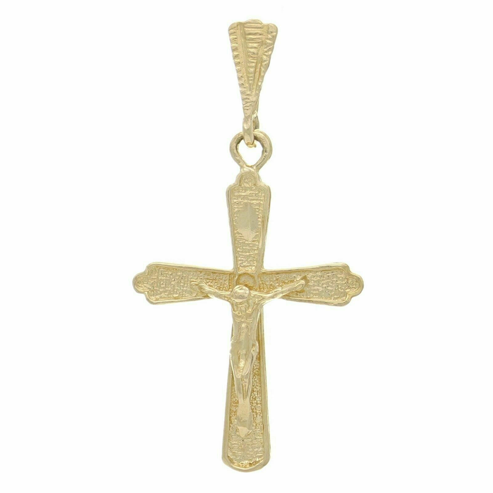 14k White And Yellow Gold Jesus Crucifix Cross Religious Pendant Charm