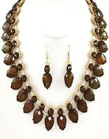 Brown And Gold Teardrop Opal Necklace Set