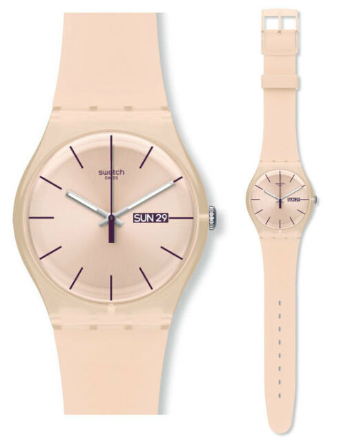 Swatch Rose Rebel Watch SUOT700 Analogue Silicone Beige