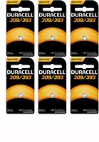 6 Duracell 309/393 Watch Calculator Silver Oxide Battery Sr48, Sr754w/sw, V309