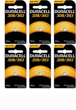6 Duracell 309/393 Watch Calculator Silver Oxide Battery SR48, SR754W/SW, V309