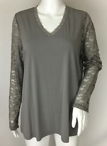5f915bde3c6 QVC Susan Graver Grey Liquid Knit V-neck Top with Lace Sleeves Size ...