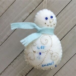 Christmas Snowman Ornament  Holiday Felt Embroidery Kit in Silver and Blues