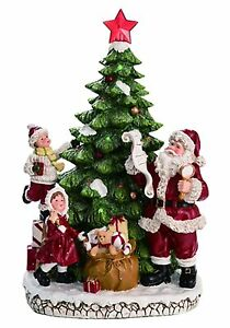 """The Resin Light up Christmas Tree w/ Santa Décor 16.75""""H ..."""