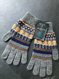 Paul Smith Orange and  Blue FAIRISLE Gloves 100% Wool