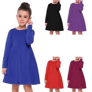 5855ef0dd424e Girls Kids Long Sleeve Swing Skater Dress Round Neck Flared T-Shirt ...