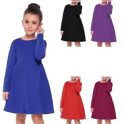 KIDS Girls Skater Plain Long Sleeve Swing Dress Ages 5-13