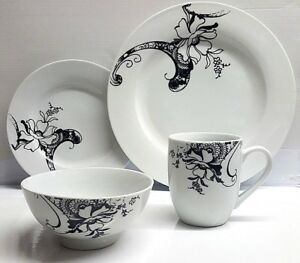 Image Is Loading 16Pcs Stoneware Dinner Set Ceramic Porcelain Clay Kitchen