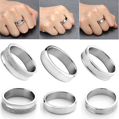 HOT Edelstahl Unisex Finger Ring Silbrig Versprechen Ringe Hochzeitstag Geschenk