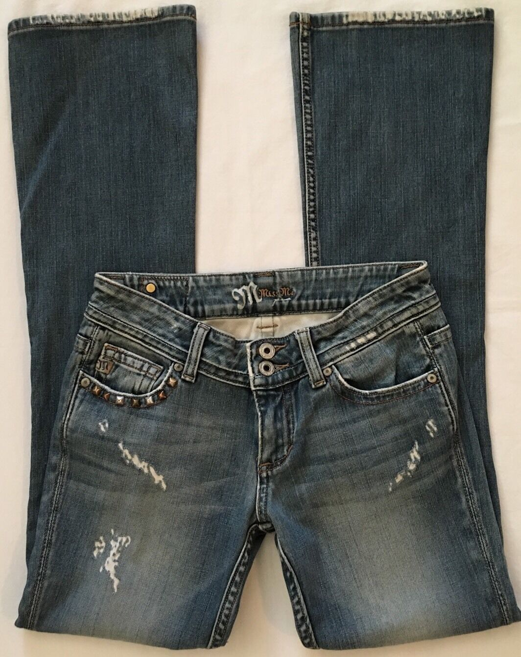 MISS ME Junior's Boot Cut Distressed bluee Jeans Size 27 StyleJP4503 CUTE