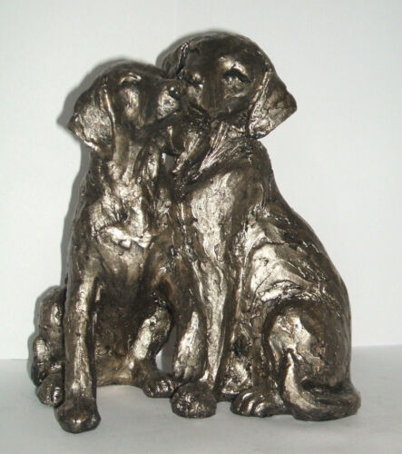 NEW ORNATE PAIR 2 BRONZE EFFECT LABRADOR SHAPE DOG DOGS FIGURINE ORNAMENT STATUE