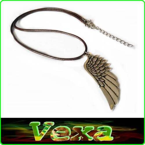 Tibetan Necklace with Pendant Protection Angel Wing Charm Silver /& Brown NK06