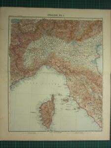 Map Of North West Italy.1907 Dated Map North West Italy Corsica Tuscany Genova Piedmont