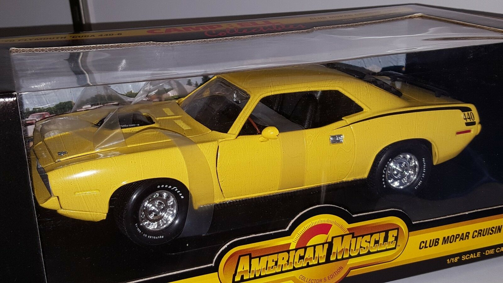 1 18 ERTL CAMPBELL COLLECTIBLES 1970 PLYMOUTH CUDA 440-6 YELLOW HAS PAPERWORK od