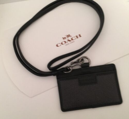 NEW COACH  Lanyard ID Holder Signature Canvas Leather  Charcoal//Gunmetal Rtl $75