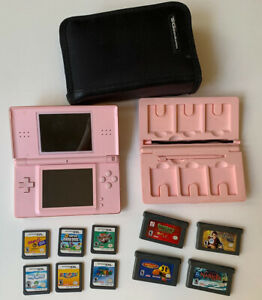 Nintendo DS Lite Coral Pink Console Bundle Includes 9 Games, Stylus NO charger