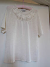See Through Cream Stretchy Short Sleeve Top by Tayberry in Size 14 - 16 - BNWT