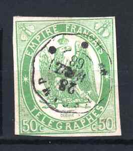 FRANCE-TELEGRAPH-STAMP-YVERT-2-034-50c-GREEN-IMPERF-1868-034-USED-VF-MUST-SEE-P926