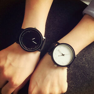 1PC Unisex Couples Watch Quartz Analog Wrist Watch Leather Band Sport Watches