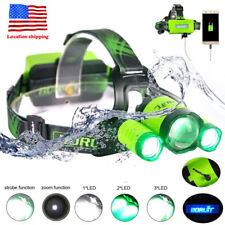 30w BORUiT Headlamp Xm-l2 2x XPE Green LED Headlight USB Hunting Lamp 2x18650