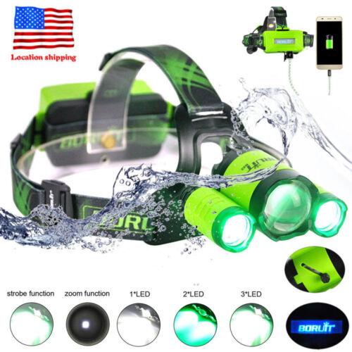 BORUiT XM-L L2 LED Green LIight HOG Hunting Headlamp Recharge USB Headlight Zoom