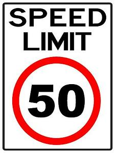 Speed Limit 50 Km H Sign 300 X 225mm Metal Sign