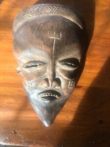 Vintage-Hand-Carved-African-Tribal-Wood-Mask-Large-Wall-Art-Wooden-Original
