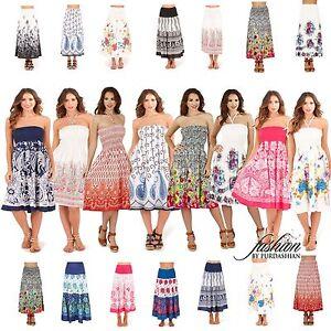 Womens-Ladies-Sleeveless-Bandeau-Beach-Summer-Dress-Knee-Length-Long-Maxi-Skirt