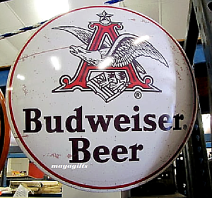 metal sign Budweiser in Bottles Dome